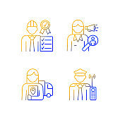 Staff of company gradient linear vector icons set