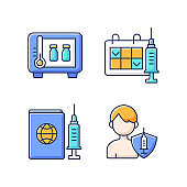Vaccine shot RGB color icons set