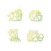 Processing recycled material gradient linear vector icons set