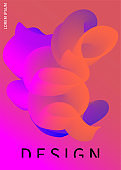 Bright fluid poster. Abstract backdrop with liquid shape