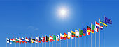 27 waving flags of countries of European Union (EU). Blue sky background. 3D illustration.