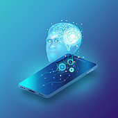 Artificial intelligence provide access to information and data in online networks smartphone. AI in the form of face man cyborg or bot coming out of the screen mobile and offers to use digital mind. vector illustration.