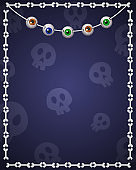 Happy Halloween background for design with hanging eyes and bones