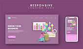 Responsive Landing Page Design With Man Holding Money Plant Pot And Infographic Chart For Grow Your Business Concept.