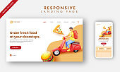 Responsive Landing Page With 3D Rendering Delivery Boy Riding Scooter For Doorstep Service.