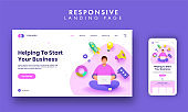 Responsive Landing Page With Faceless Man Working At Laptop And 3D Start Up Business Elements On White Background.