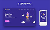 Start Your Business Landing Page With Rocket Illustration On Blue Background.