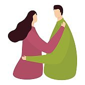 Faceless Romantic Couple Dancing On White Background.