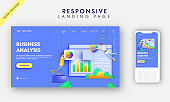 Business Analysis Landing Page Design With Analysts Maintaining Website On Blue Background.