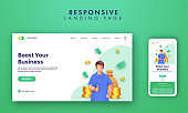 Responsive Landing Page Design With 3D Rendering Man Showing Thumb Up And Currencies On White Background.