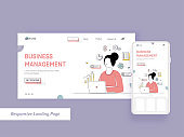 Business Management Landing Page With Cartoon Woman Working At Laptop On White Background.