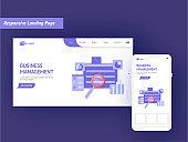 Responsive Landing Page Design With Smartphone Illustration For Business Management Concept.
