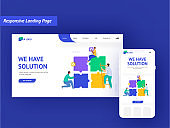 Responsive Landing Page Design With Business People Working Together And Jigsaw Puzzles For Solution Or Project Work Concept.