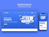 Responsive Landing Page Design With Employees Working Together For Grow Business Concept.