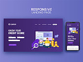 Responsive Landing Page Design For Credit Score With Smartphone Illustration.
