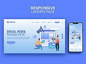 Social Media Management Landing Page Design For Mobile Application.