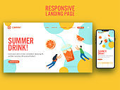 Summer Drink Based Landing Page On Yellow Background For Mobile Application.
