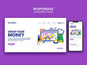 Landing Page Or Web Banner Design With Smartphone For Grow Money Concept.