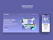 Grow Your Business Landing Page Or Web Template Design For Mobile Application.