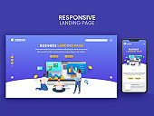 Business Landing Page Design With Smartphone And Teamwork Illustration On Blue Background.