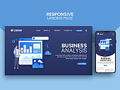 Business Analysis Concept Based Landing Page With Smartphone For Mobile Application.