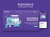 Business Workflow Concept Based Landing Page For Mobile Application.