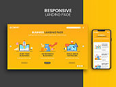 Responsive Landing Page Design With Smartphone For Business Concept.