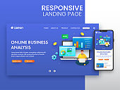 Responsive Landing Page Design With Smartphone For Online Business Analysis Concept.