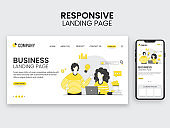 Responsive Landing Page Design With Employees Working At Workplace For Business Concept.