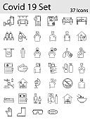 Illustration Of Covid-19 Icon Set in Thin Line Art.