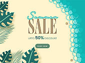 UP TO 50% Off For Summer Sale Poster Design With Tropical Leaves.