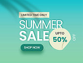 Summer Sale Poster Or Banner Design With 50% Discount Offer On Gradient Blue Background.