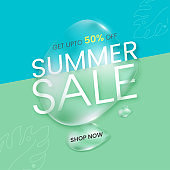 UP TO 50% Off For Summer Sale Poster Design With 3D Render Water Drops.