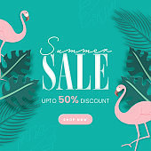 Summer Sale Poster Design With 50% Discount Offer, Flamingo Birds And Tropical Leaves On Turquoise Background.