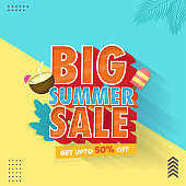 Summer Big Sale Poster Or Template Design With 50% Discount Offer On Blue And Yellow Background.