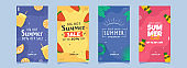 Summer Sale Template Or Flyer Design With Different Discount Offers In Four Color Options.