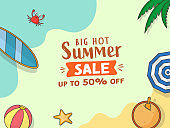 UP TO 50% Off For Summer Sale Poster Design With Beach Elements.