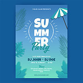 Summer Party Invitation Card Decorated With Tropical Leaves In Gradient Blue Color.