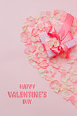 Valentine's day banner postcard or poster for sale in the store. top view.copy space