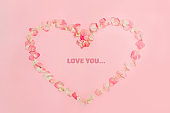 Valentine's day or Women's day banner postcard or poster for sale in the store. top view