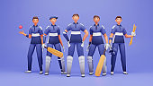 3D Illustration Of Male Cricket Player Team On Blue Background.
