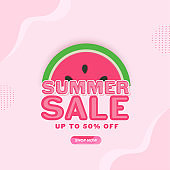 Summer Sale Poster Design With 50% Discount Offer And Watermelon Slice On Pink Background.