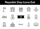 Black Line Art Set of Republic Day Icon In Flat Style.