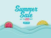 Summer Sale Poster Design With 50% Discount Offer, Fruit Slices And Waves On Blue Background.