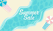 Summer Sale Banner Design With Top View Of Beach Bed On River View Background.