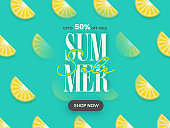 UP TO 50% Off For Summer Sale Poster Design Decorated With Lemon Slices.