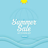 Summer Sale Poster Design With 50% Discount Offer, Paper Cut Umbrella And Sun On Blue Waves Background.