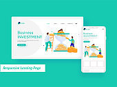Business Investment Concept Based Landing Page With Employees Character And Financial Funnel On White Background.