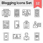 Black Line Art Set of Blogging Icon In Flat Style.