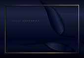 Abstract elegant dark blue shiny curved shape background with golden border frame luxury style.